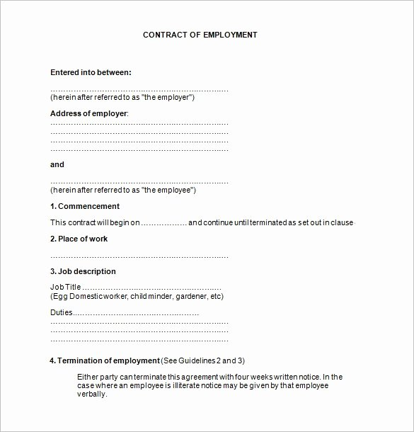 Free Employment Contract Template Word Inspirational Employee Contract Template