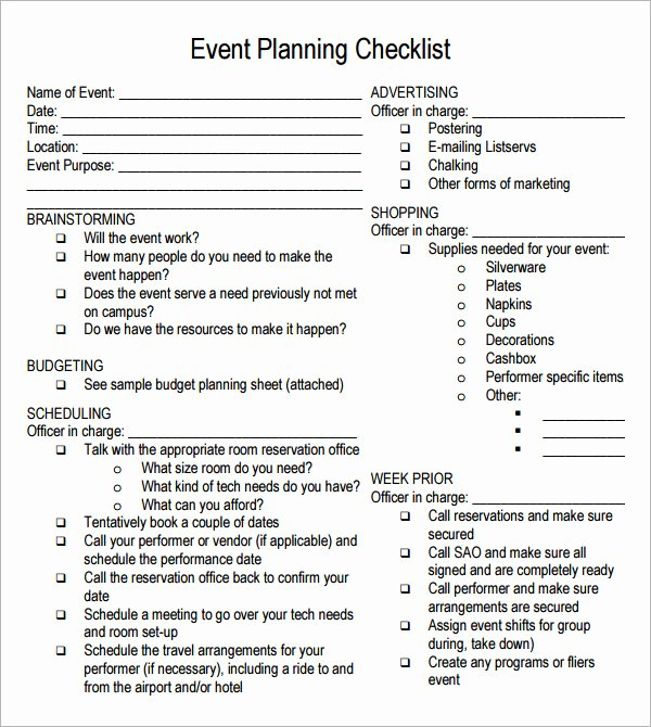 Free event Planning Template Best Of event Planning Checklist 7 Free Download for Pdf