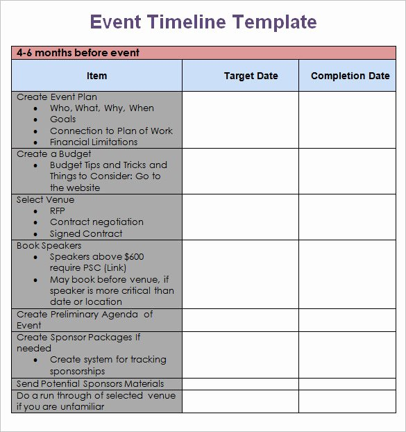 Free event Planning Template Fresh 8 event Timeline Templates Free Sample Example format