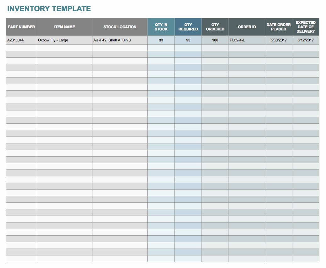 Free Excel Inventory Template Awesome Free Google Docs and Spreadsheet Templates Smartsheet