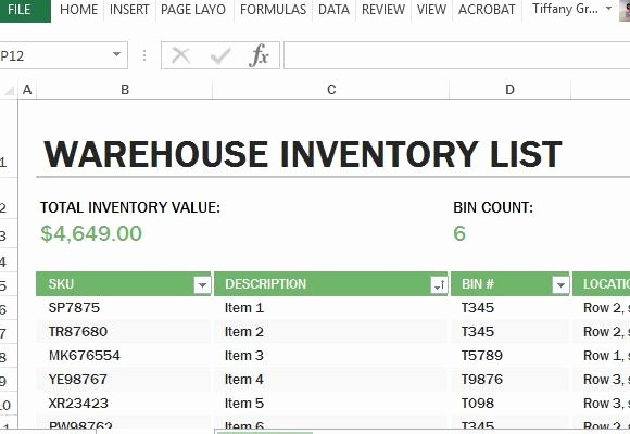 Free Excel Inventory Template Fresh Warehouse Inventory Excel Template