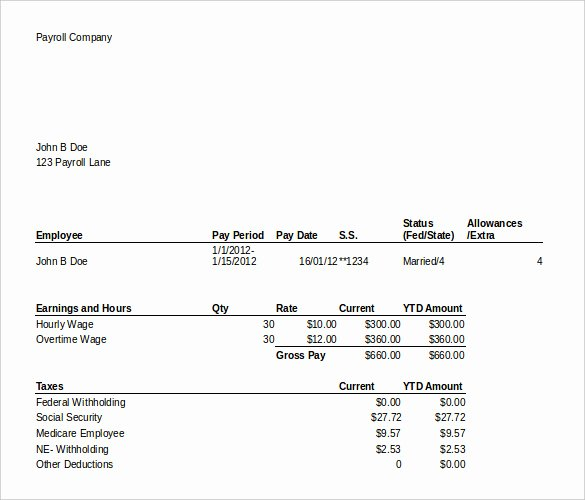 Free Excel Payroll Template Unique 24 Pay Stub Templates Samples Examples & formats