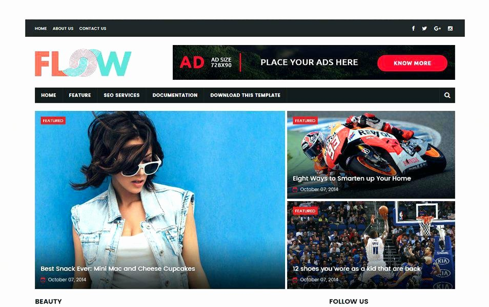 Free Fashion Blogger Template New Free Premium Magazine Blogger Templates Responsive Flow