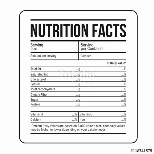 "Free Food Label Template Awesome ""nutrition Facts Label Template Vector"" Stock Image and"