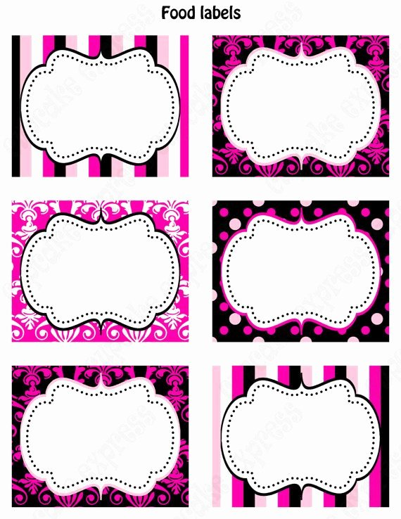 Free Food Label Template Beautiful Printable Food Labels Favor Tags Pink Black White Polka