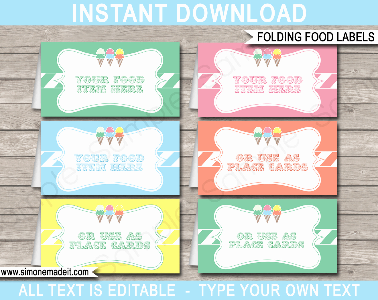 Free Food Label Template Best Of Ice Cream Party Food Labels Place Cards