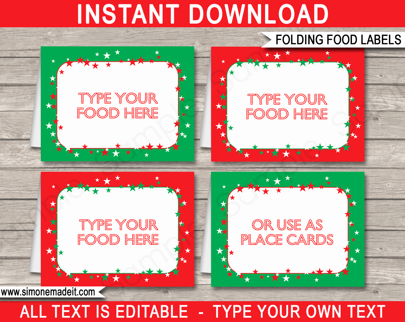 Free Food Label Template Elegant Christmas Party Food Labels Place Cards