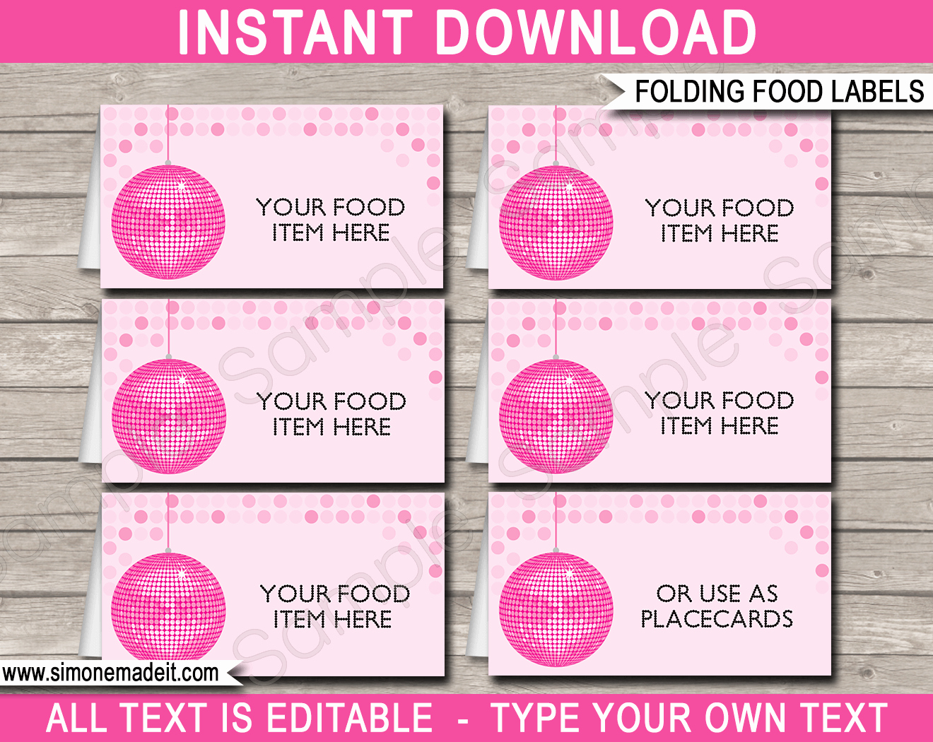 Free Food Label Template Elegant Disco Party Food Labels Place Cards