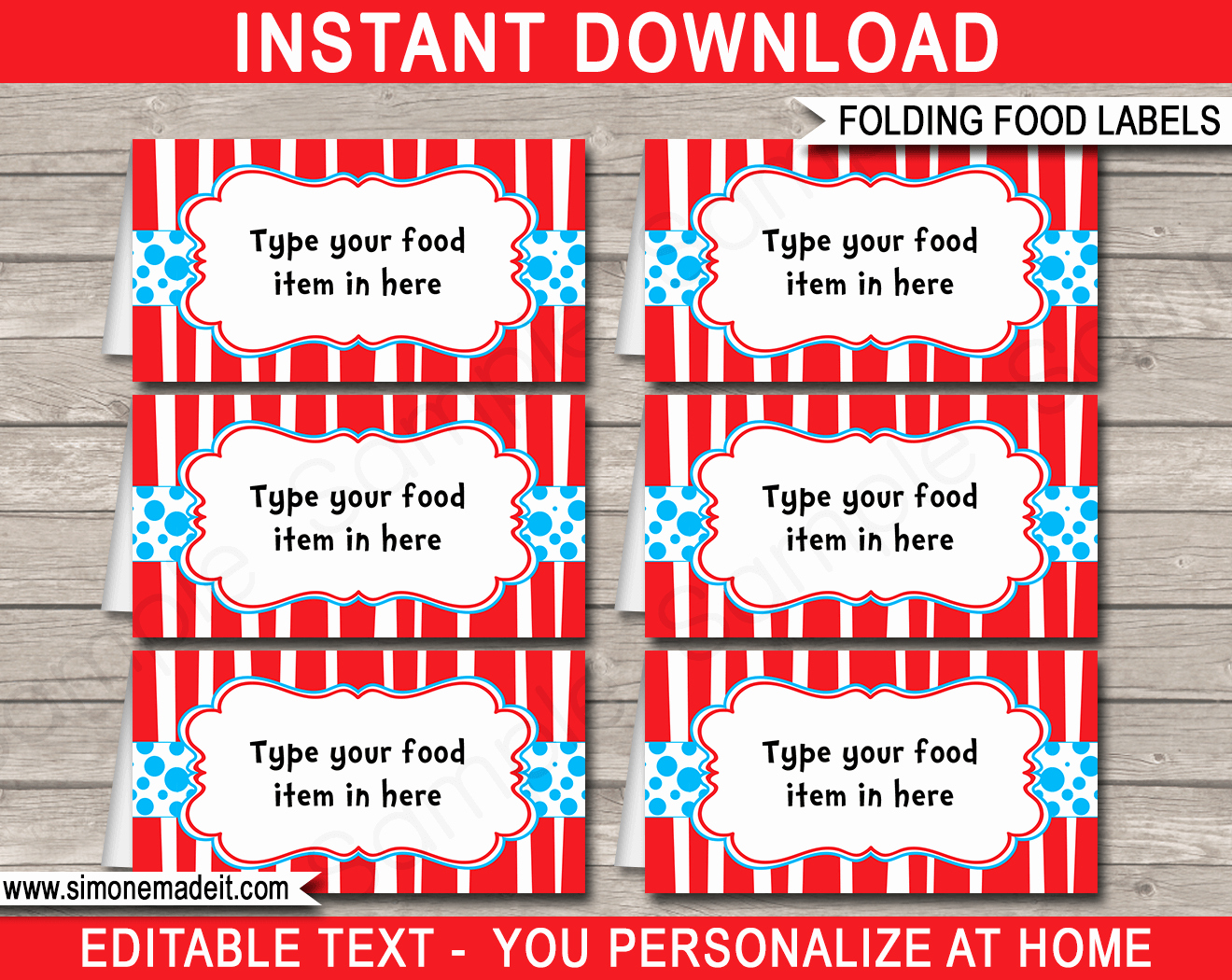Free Food Label Template Lovely Dr Seuss Party Food Labels Place Cards