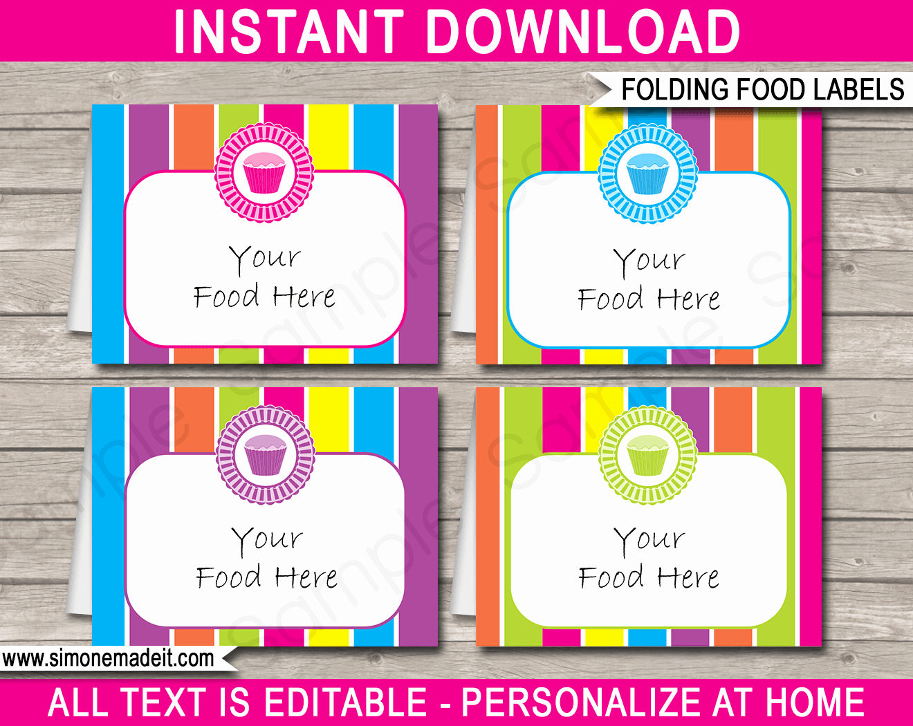 Free Food Label Template Luxury Cupcake Party Food Labels Place Cards