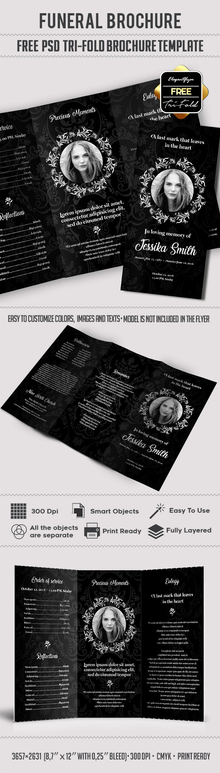 Free Funeral Brochure Template Awesome Free Funeral Trifold Brochure – by Elegantflyer