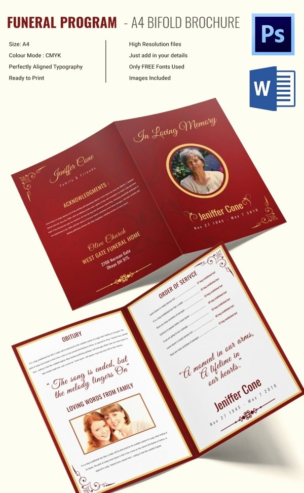 Free Funeral Brochure Template Beautiful 13 Printable Obituary Templates