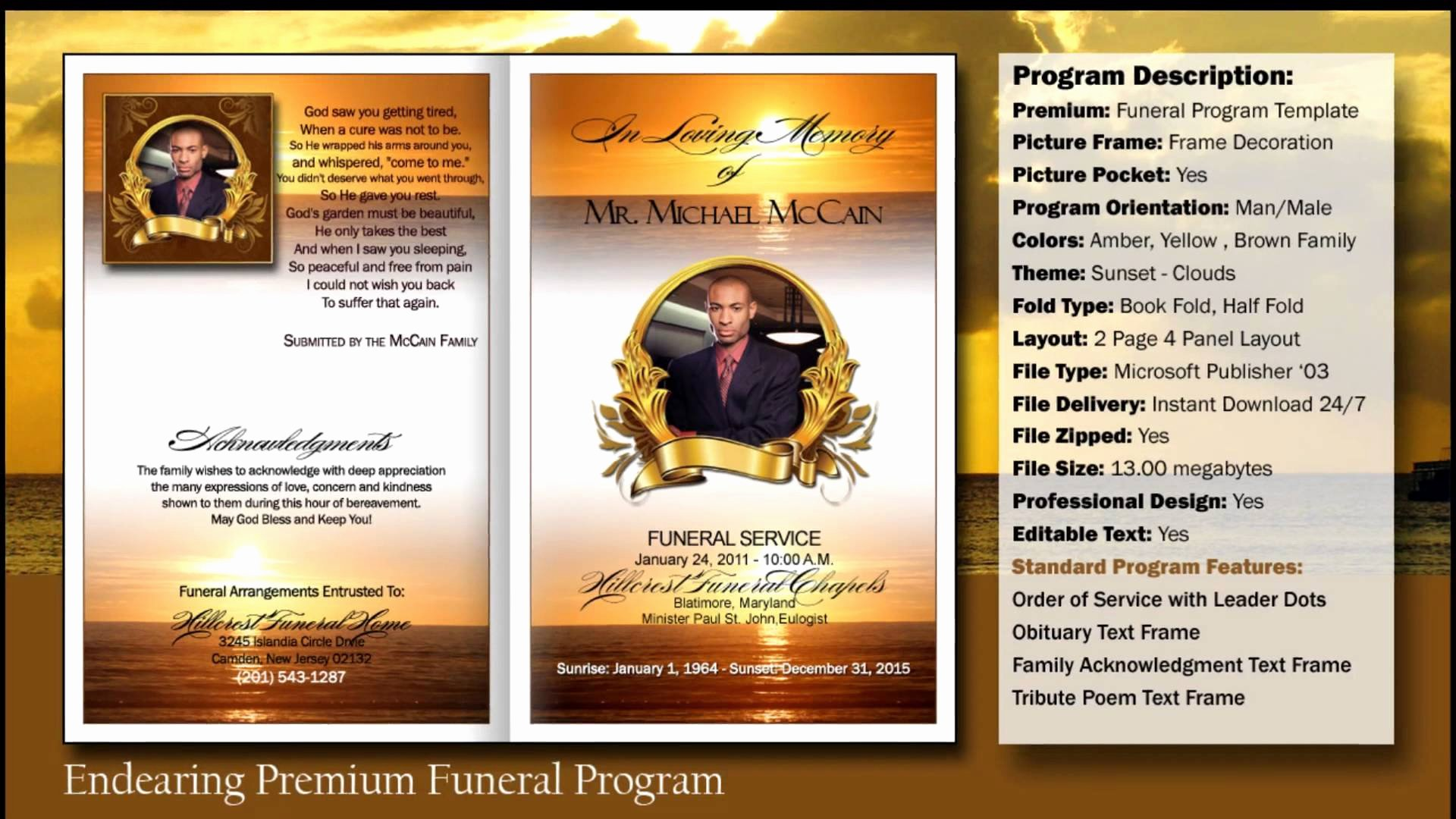 Free Funeral Brochure Template Lovely Free Funeral Program Template Microsoft Publisher