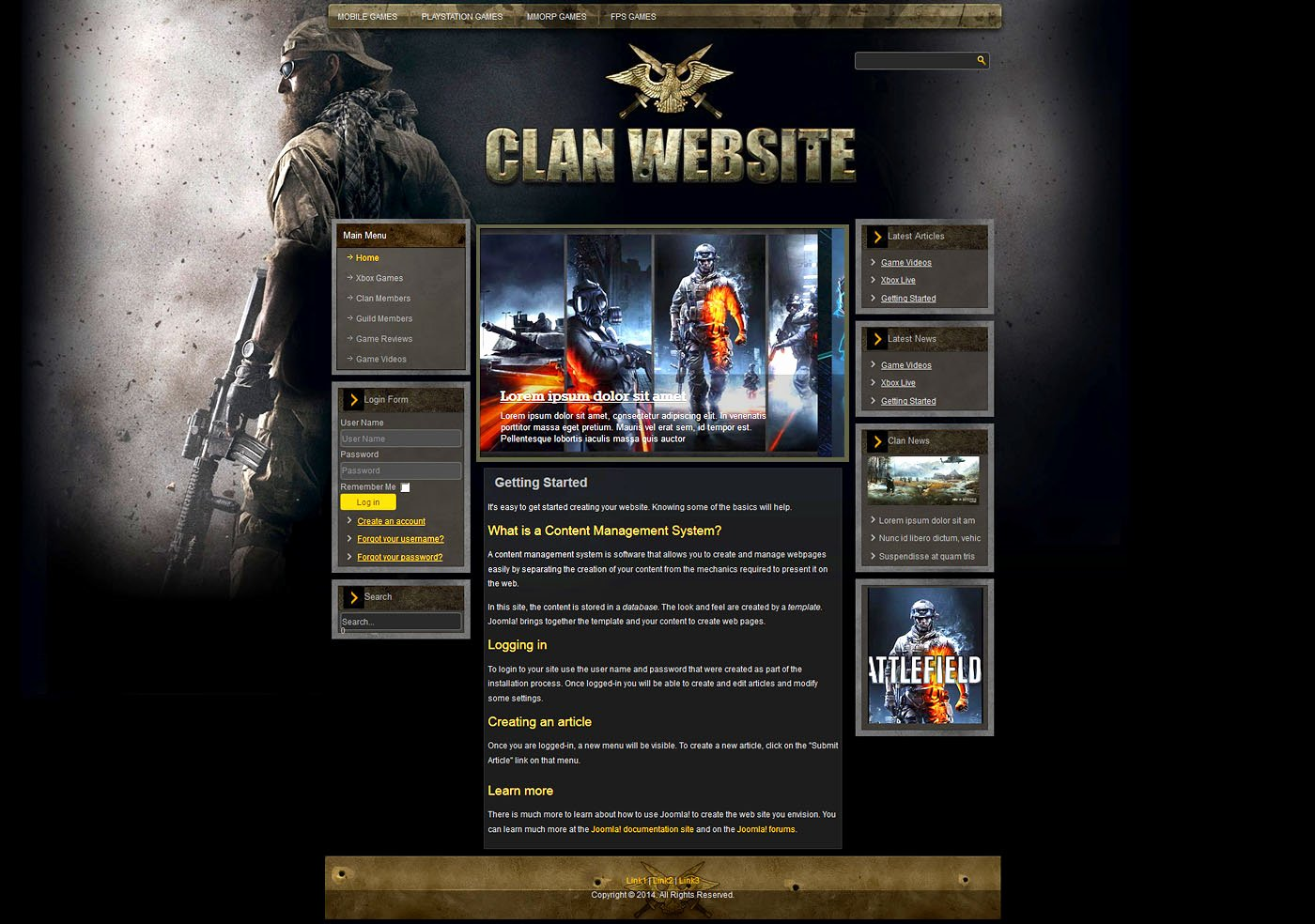 Free Gaming Website Template Awesome Gaming Clan Joomla Template