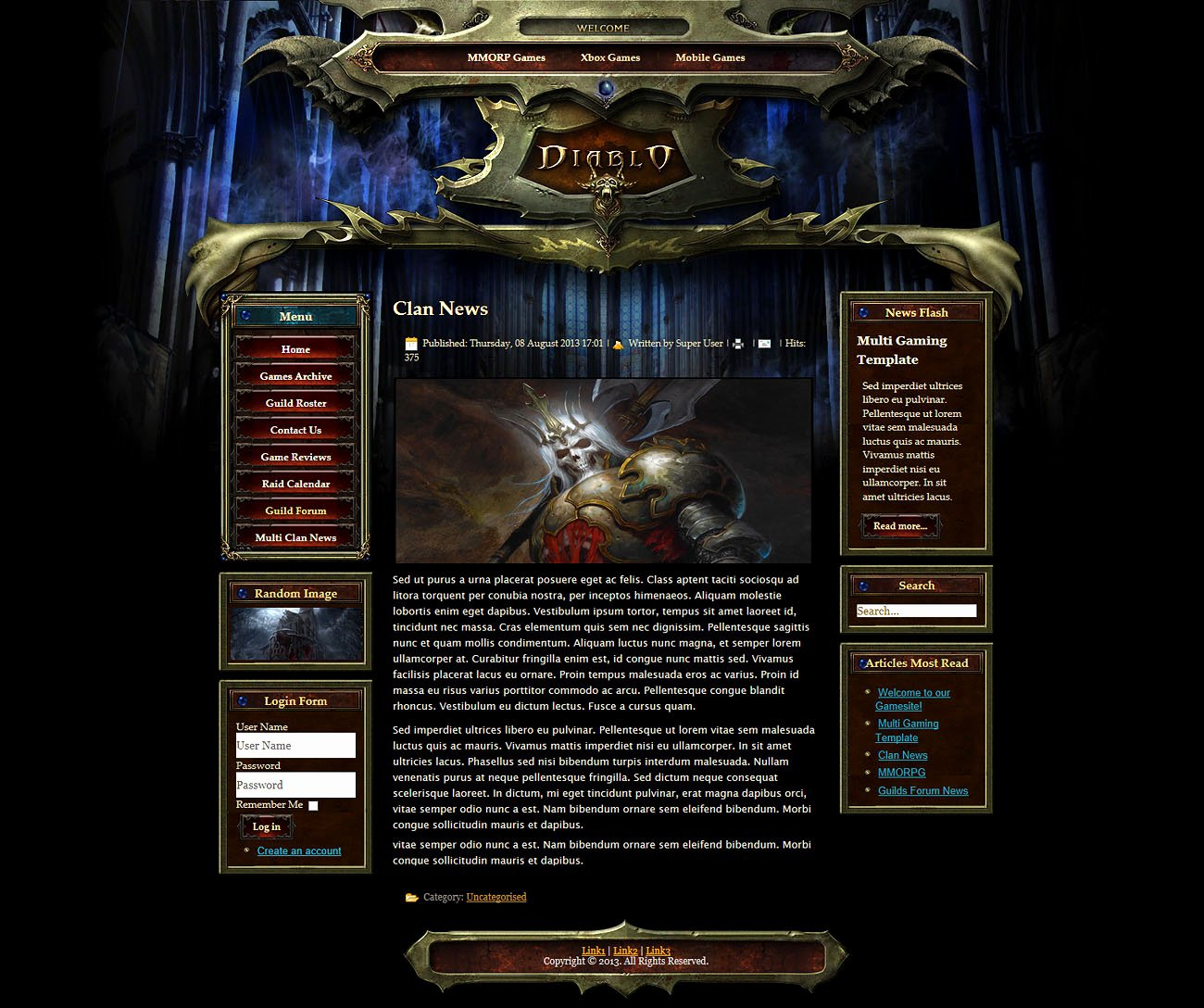 Free Gaming Website Template Best Of Darkness Joomla Template