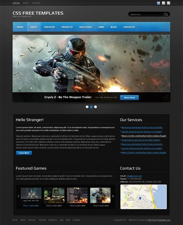 Free Gaming Website Template Elegant Dark Website Css Template for Portfolios Games and It