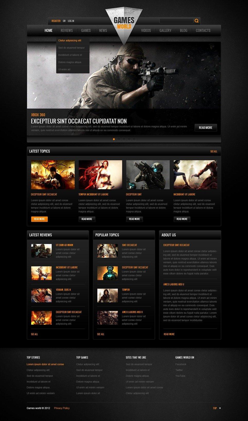 Free Gaming Website Template Elegant Game Portal Website Template