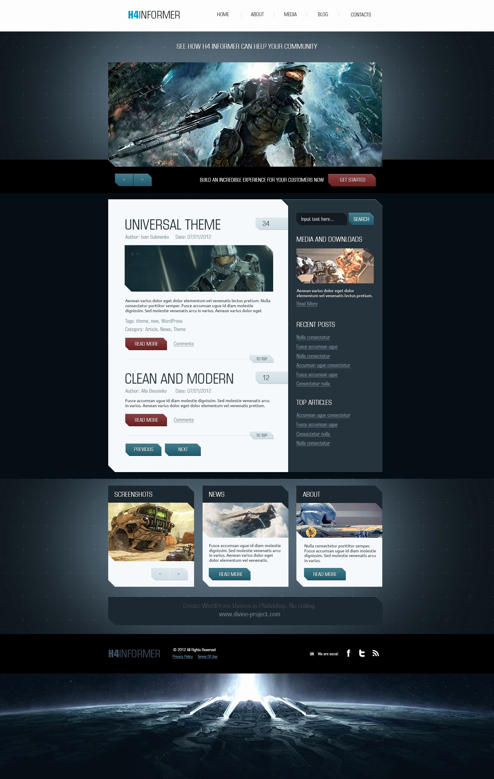 Free Gaming Website Template Elegant H4 Informer – A Fully Layered Psd with Xhtml Css Template
