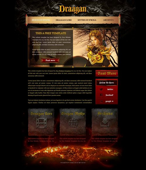fantasy game web template with original illustrations