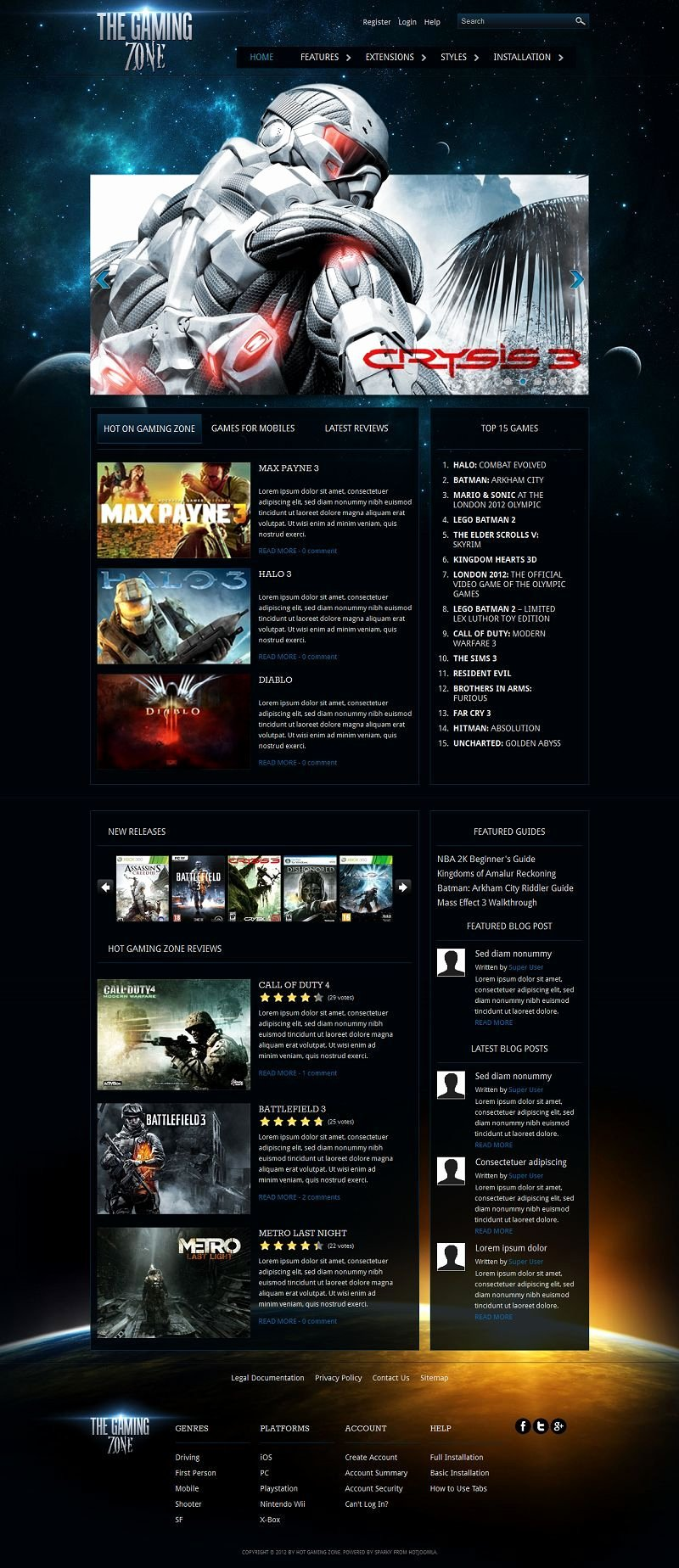 Free Gaming Website Template Fresh Gaming Zone Premium Joomla 2 5 Template for Video Games