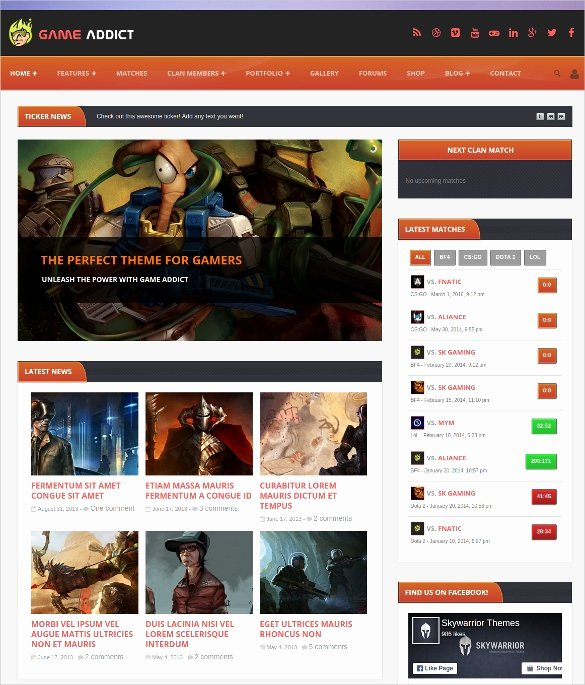 Free Gaming Website Template Inspirational 37 Gaming Website themes & Templates