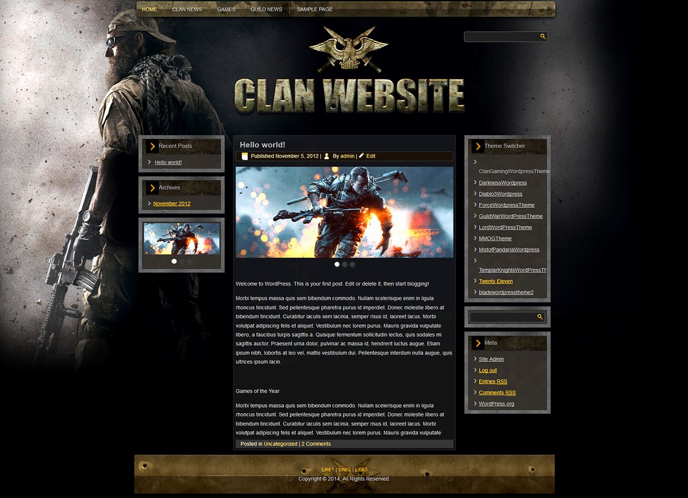 Free Gaming Website Template New Gaming Clan Wp theme