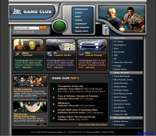 Free Gaming Website Template New Gaming Club Web Site Templates – Over Millions Vectors