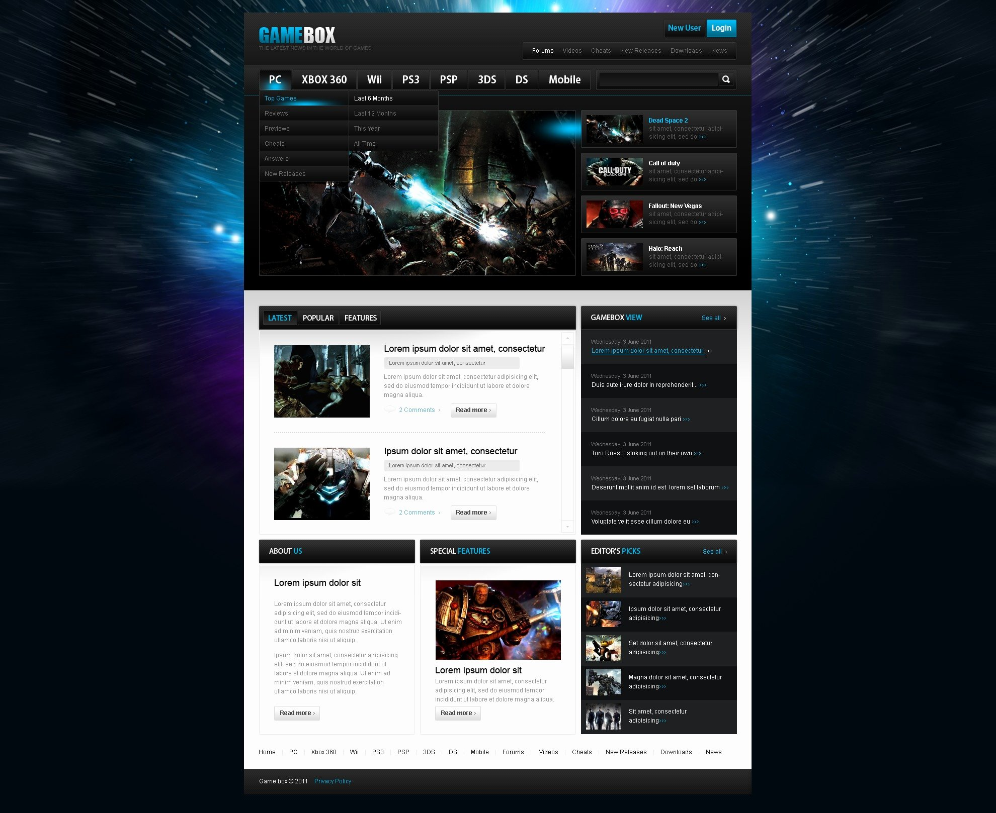 Free Gaming Website Template Unique Games Website Template