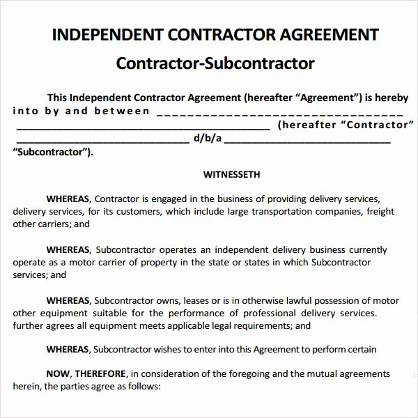 Free General Contractor Agreement Template Elegant Subcontractor Agreement 13 Free Pdf Doc Download