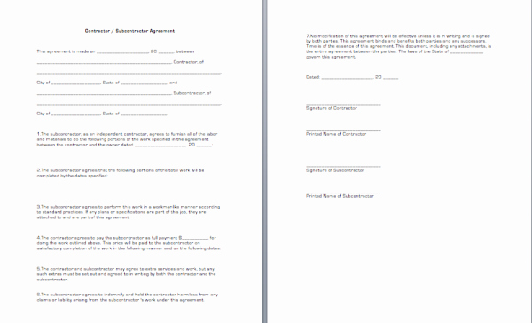 Free General Contractor Agreement Template Inspirational General Contractor Sub Agreement