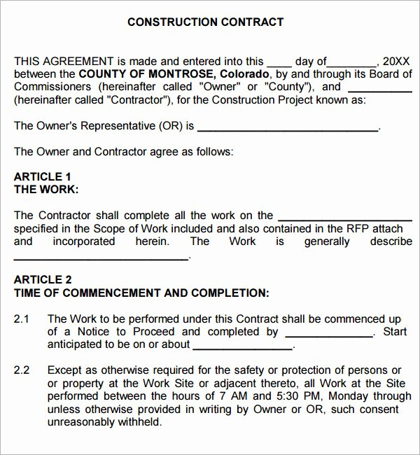 Free General Contractor Agreement Template Lovely Construction Contract 7 Free Pdf Download