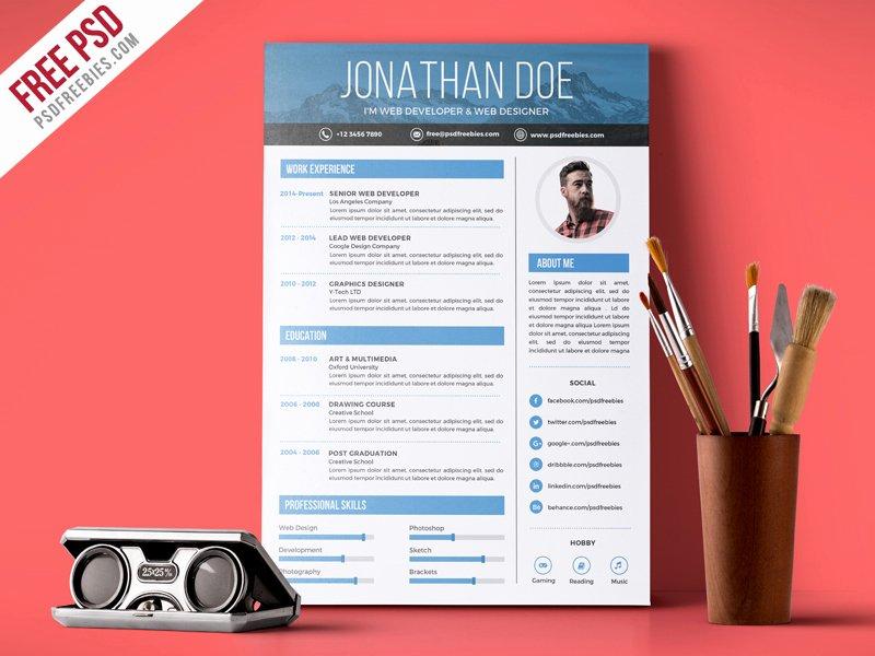 Free Graphic Design Template Elegant Creative Graphic Designer Resume Psd Template Download