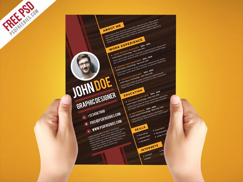 Free Graphic Design Template Elegant Free Psd Creative Graphic Designer Resume Template Psd
