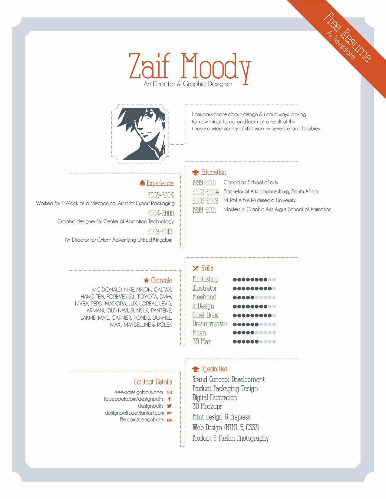 Free Graphic Design Template Lovely Free Resume Template for Graphic Designers