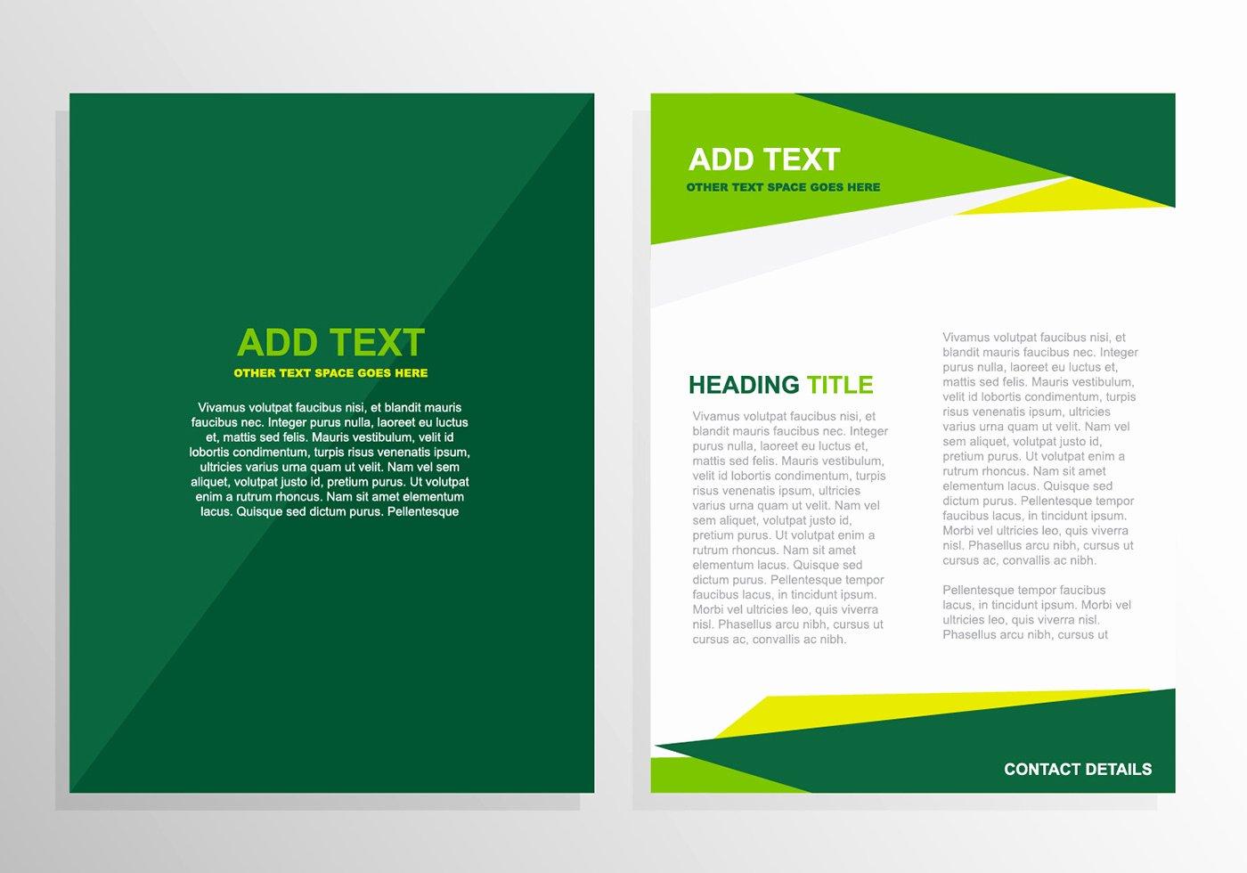 Free Graphic Design Template Unique Free Vector Green Brochure Template Design