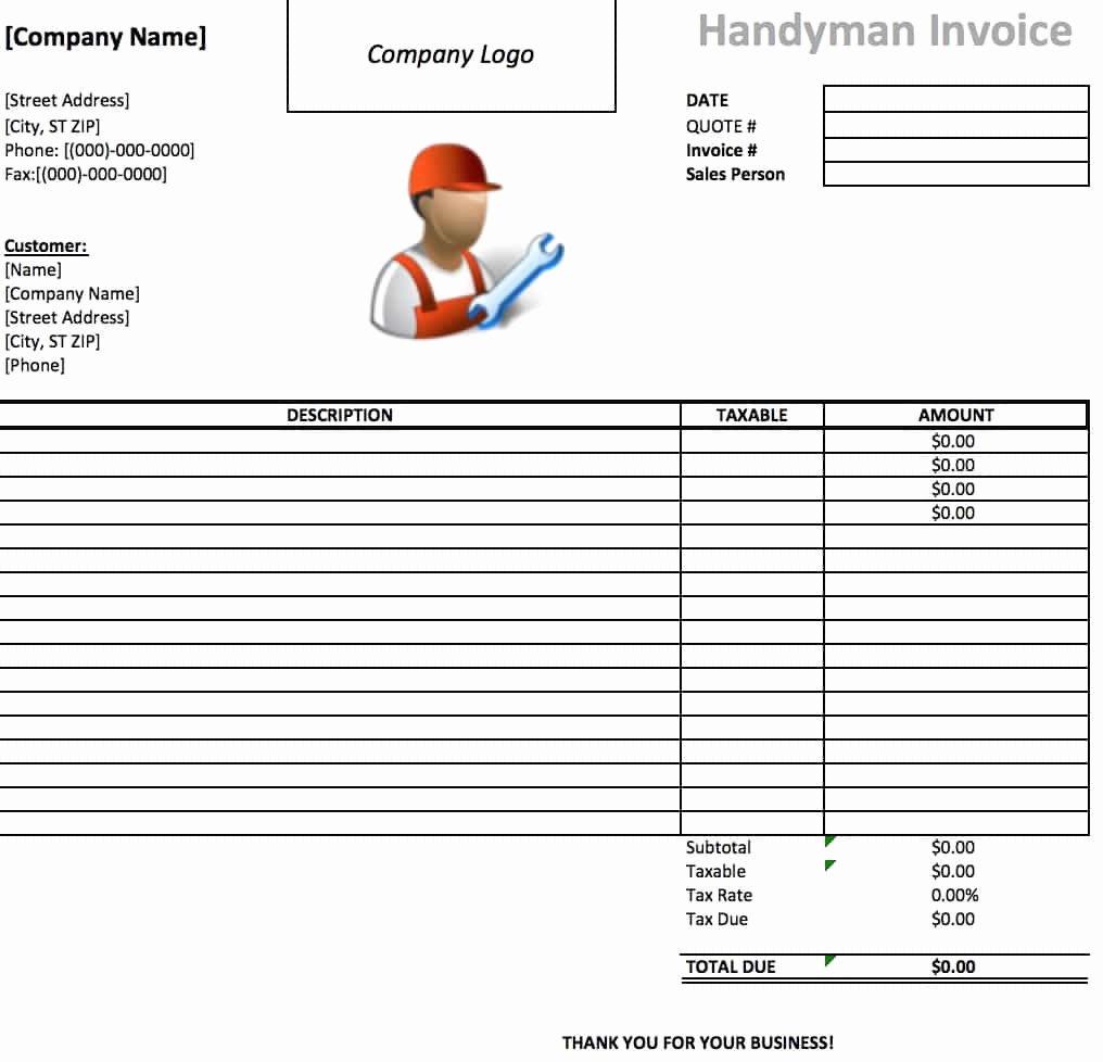 Free Handyman Invoice Template Beautiful Free Handyman Invoice Template Excel Pdf