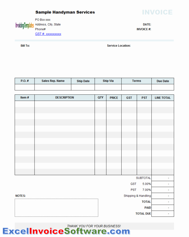 Free Handyman Invoice Template Beautiful Service Excel Invoice software