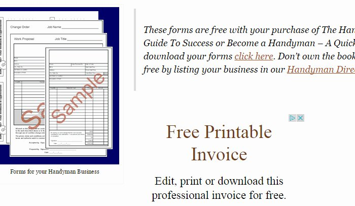 Free Handyman Invoice Template Best Of 5 Handyman Invoice Template
