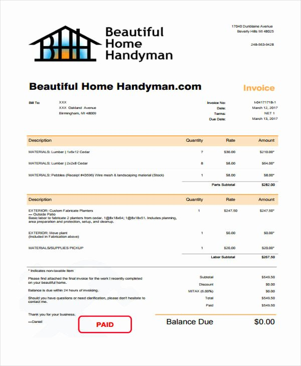 Free Handyman Invoice Template Best Of 6 Handyman Invoice Template Free Sample Example format