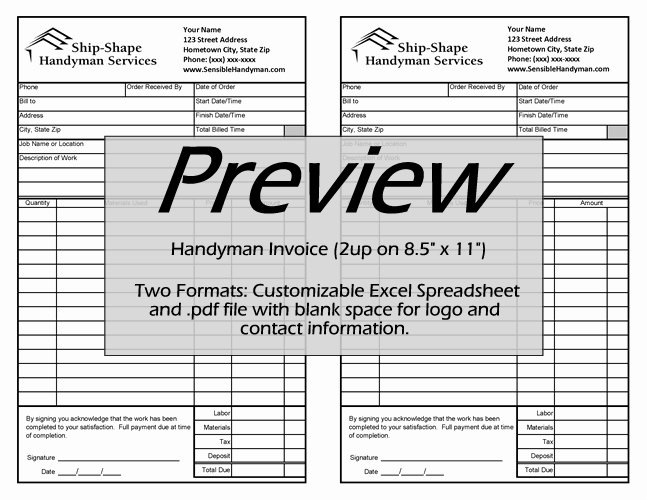 Free Handyman Invoice Template Best Of Free Handyman Invoice Work order Change order Mark Up