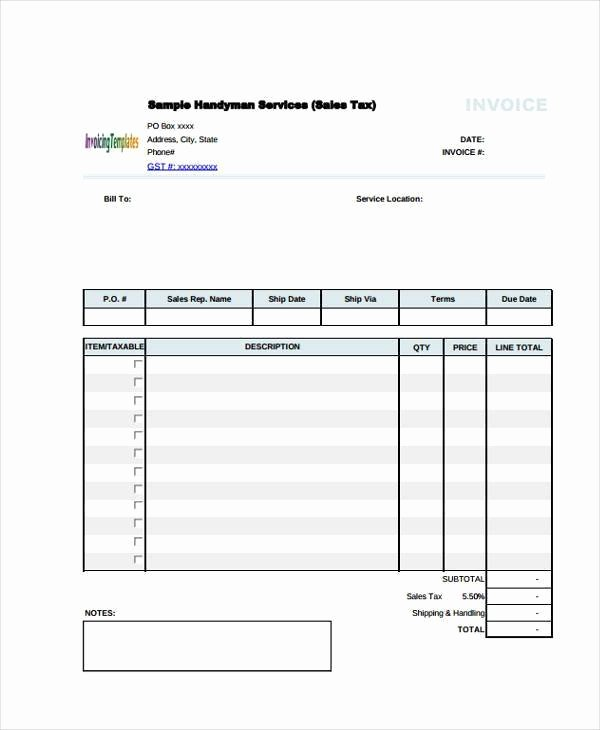 Free Handyman Invoice Template Best Of Handyman Invoice Free Download Printable Templates Lab
