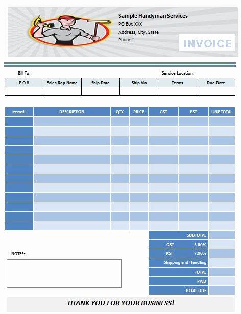 Free Handyman Invoice Template Elegant Dj Invoices Templates