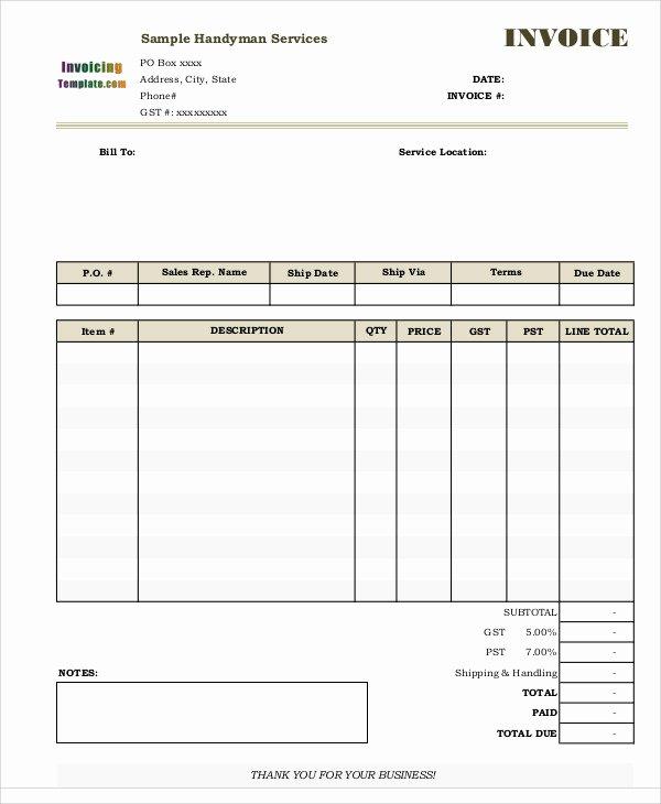 Free Handyman Invoice Template Luxury Handyman Invoice Templates 4 Free Word Pdf format
