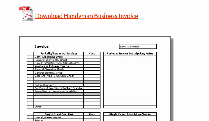 Free Handyman Invoice Template New 5 Handyman Invoice Template