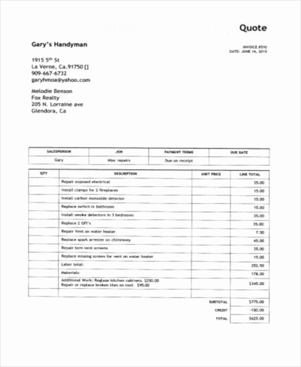 Free Handyman Invoice Template New 6 Handyman Invoice Template Free Sample Example format