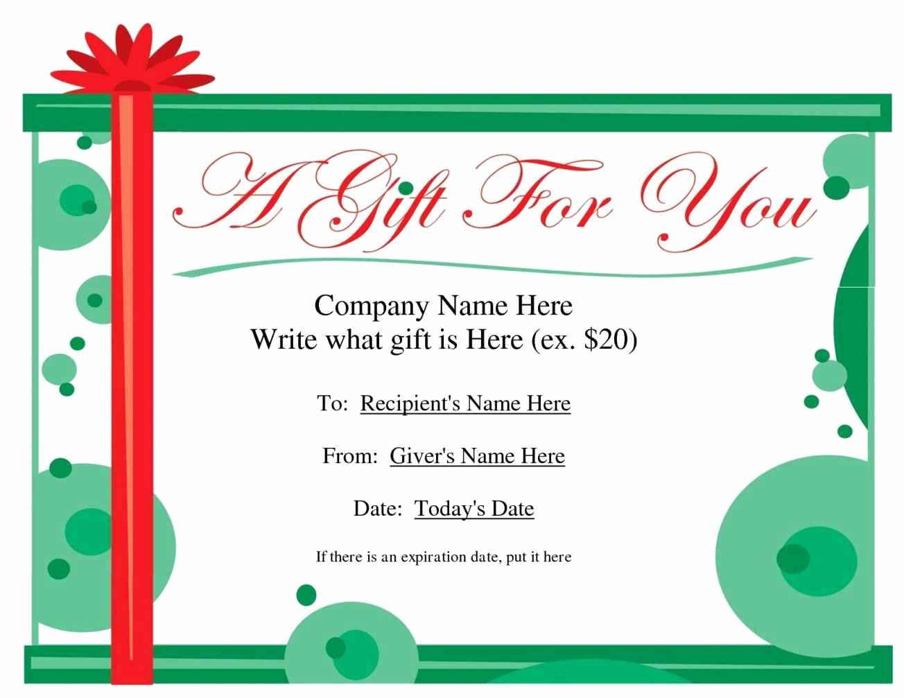 Free Holiday Gift Certificate Template Beautiful Create Your Own Gift Certificate Template Update234
