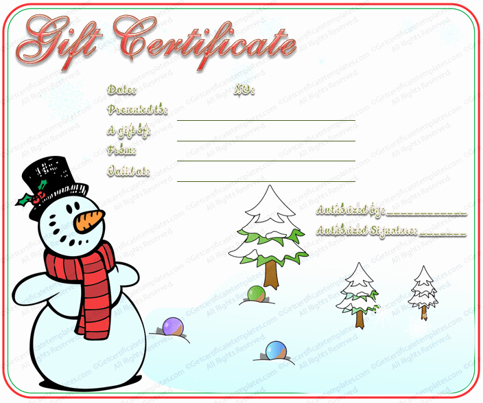 Free Holiday Gift Certificate Template Elegant Snowman Christmas Gift Certificate Template