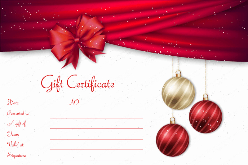 Free Holiday Gift Certificate Template Elegant Velvet Ribbons Christmas Gift Certificate Template