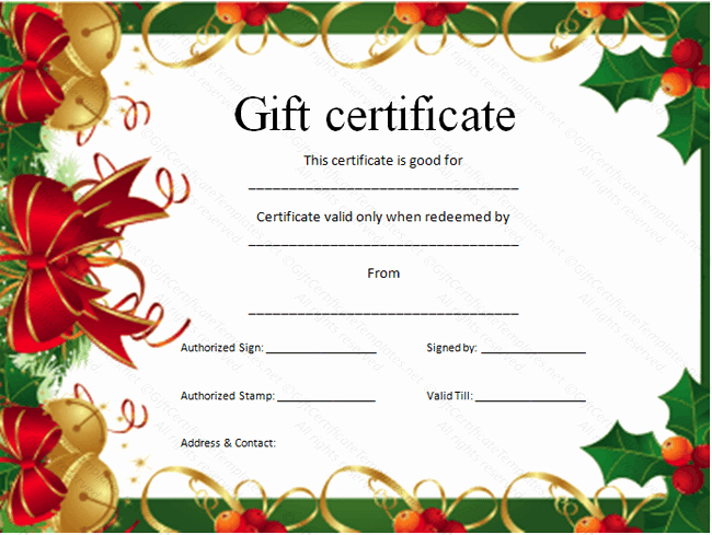 Free Holiday Gift Certificate Template Fresh 9 Best Of Gift Certificate Template Free Fill In