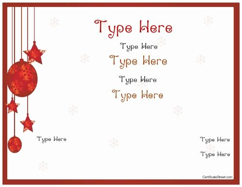 Free Holiday Gift Certificate Template Fresh Blank Certificates Holiday Gift Certificate Template
